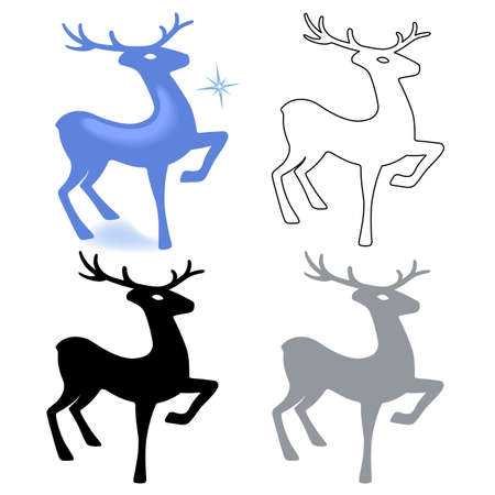 venison: Marvellous deer stands (silhouette), design for Xmas cards, banners and flyers, vector illustration isolated on white background