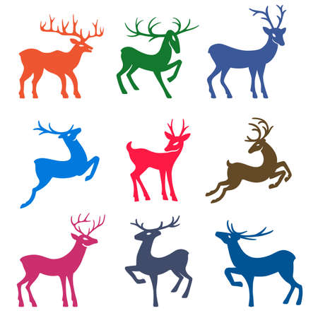 wild venison: Nine colored deer set silhouettes isolated on white background, design for Xmas cards, banners and flyers, vector illustration isolated on white background