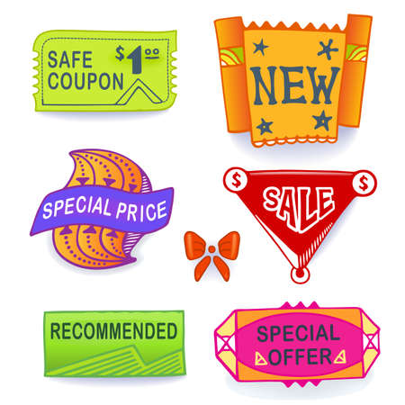 blends: Colored set of promotional sales english text labels, signs, stickers. Image contains gradients, blends and gradient meshes