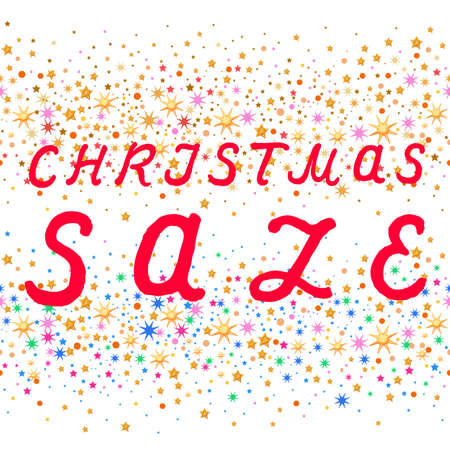 plenty: Seamless Christmas sale text design with stars isolated on white background, vector illustration
