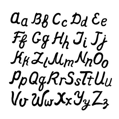 cursive: Handwritten cursive English alphabet, vector illustration isolated on white background