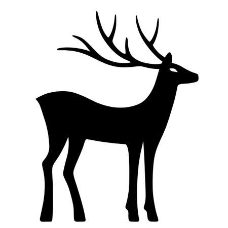 marvellous: Marvellous deer stands (silhouette), design for Xmas cards, banners and flyers, vector illustration isolated on white background