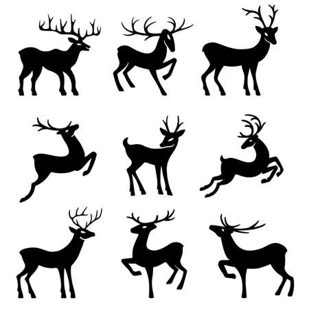looking for: Nine black deer set silhouettes isolated on white background, design for Xmas cards, banners and flyers, vector illustration isolated on white background