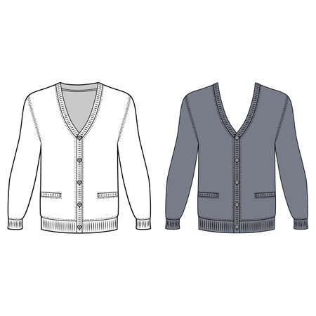 cardigan: Blank long sleeve cardigan outlined template (front view), vector illustration isolated on white background