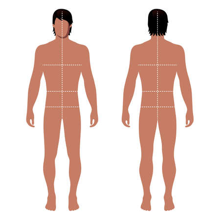 doppelganger: Fashion man full length outlined template figure silhouette with marked bodys sizes lines (front & back view), vector illustration isolated on white background