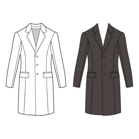 lapels: Mans coat outlined template (front view), vector illustration isolated on white background
