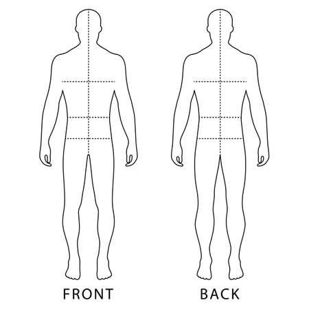 hombres de la manera esbozado plantilla silueta de la figura (frontal y posterior) con líneas de marcado tamaños de cuerpo, ilustración vectorial aislados en fondo blanco