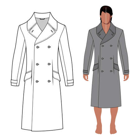 lapels: Mans coat outlined template (front view) & full length cloaked mans figure, vector illustration isolated on white background