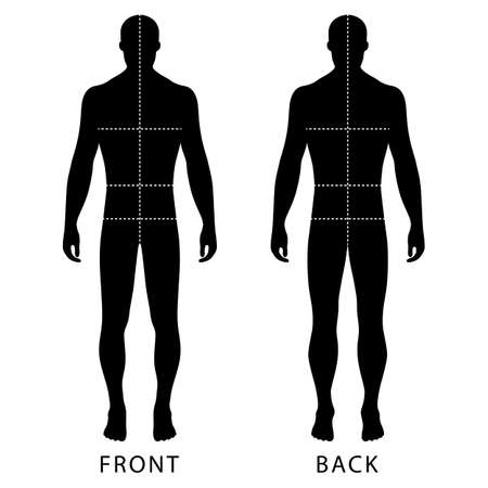 male body: Fashion mans solid template figure silhouette (front & back view) with marked bodys sizes lines, vector illustration isolated on white background