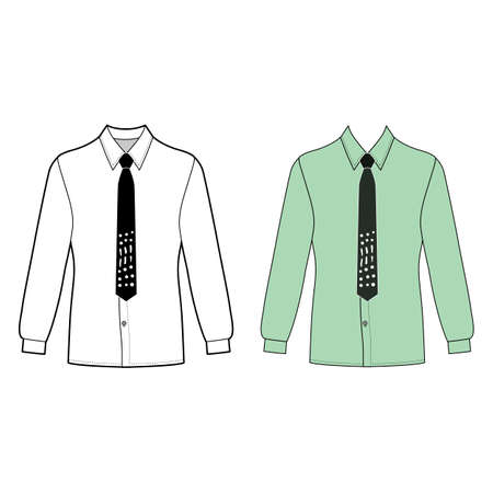Long sleeve mans shirt & tie outlined template (front view), vector illustration isolated on white background
