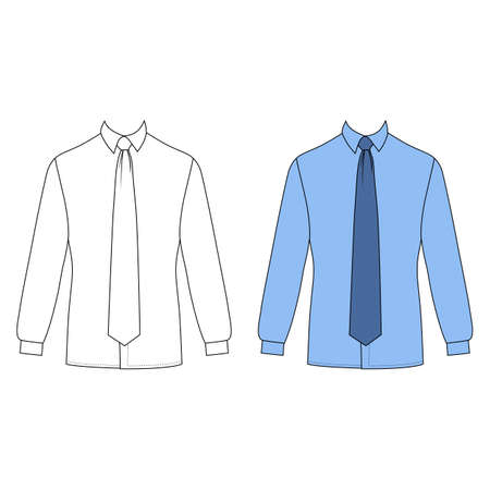 shirt and tie: Long sleeve mans shirt & tie outlined template (front view), vector illustration isolated on white background