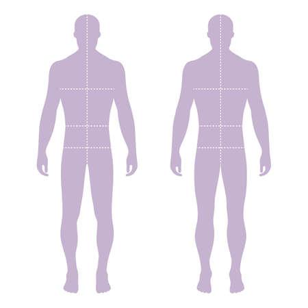 hombres de la manera plantilla de la figura sólida silueta (frontal y posterior) con líneas de marcado tamaños de cuerpo, ilustración vectorial aislados en fondo blanco