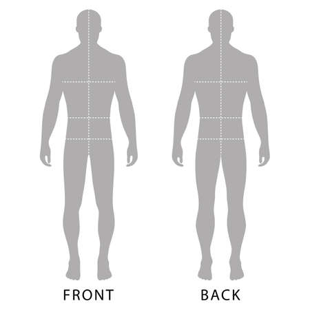 Fashion man's solid template figure silhouette (front & back view) with marked body's sizes lines, vector illustration isolated on white background Vectores