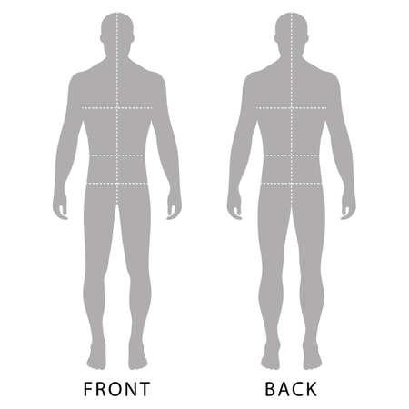 Silueta de figura de plantilla sólida de hombre de moda (vista frontal y posterior) con líneas de tamaños de cuerpo marcados, ilustración vectorial aislado sobre fondo blanco Ilustración de vector