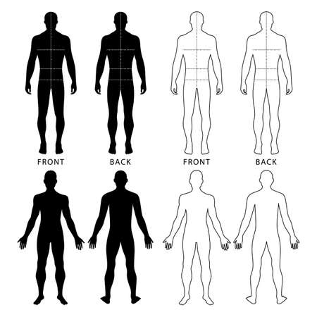 body outline: Fashion mans solid template figure silhouette (front & back view) with marked bodys sizes lines, vector illustration isolated on white background