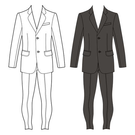 Man's suit (jacket & skinny jeans) outlined template front view, vector illustration isolated on white background
