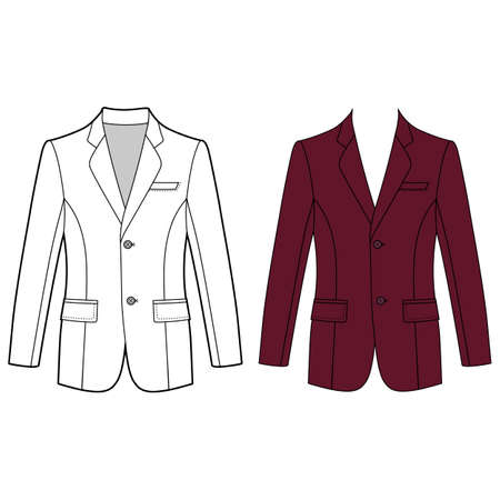 lapels: Long sleeve mans buttoned jacket outlined template (front view), vector illustration isolated on white background Illustration