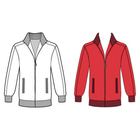 Long sleeve jacket with zipper outlined template (front view), vector illustration isolated on white background Illustration