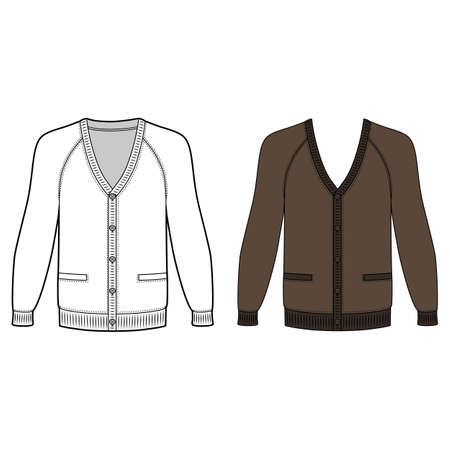 raglan: Blank long sleeve raglan cardigan outlined template (front view), vector illustration isolated on white background