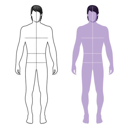 solid figure: Moda uomo pieno lunghezza delineata modello figura silhouette con linee dimensioni marcata del corpo (vista frontale), illustrazione vettoriale isolato su sfondo bianco Vettoriali