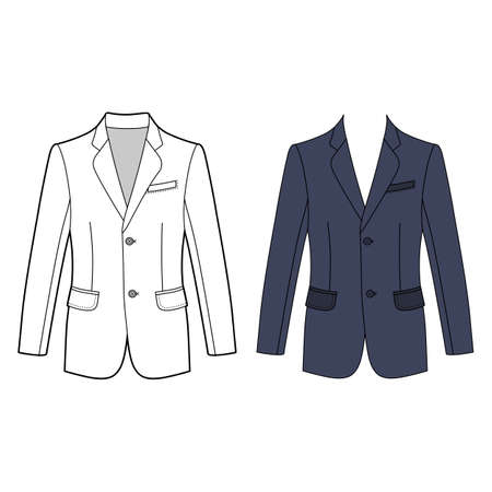 Long sleeve mans buttoned jacket outlined template (front view), vector illustration isolated on white background Illustration