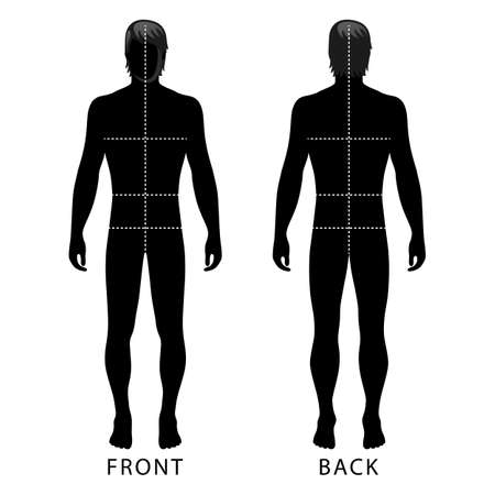 Fashion man full length outlined template figure silhouette with marked bodys sizes lines (front & back view), vector illustration isolated on white background