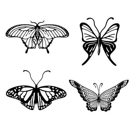Black-white butterfly logo set, vector illustration isolated on background