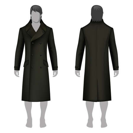 lapels: Mans coat outlined template (front & back view) & full length cloaked mans figure, vector illustration isolated on white background