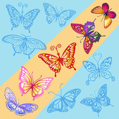 A ray of sun in the blue sky & colored butterfly logo set, vector illustration isolated on background