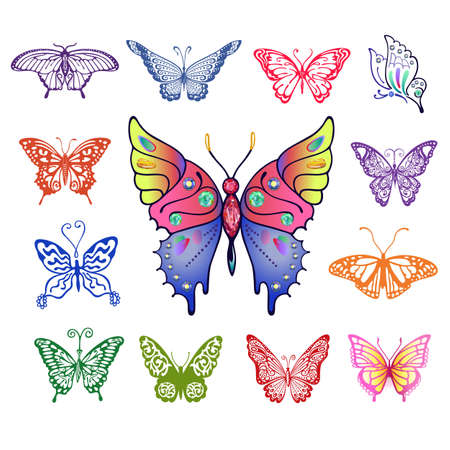 antennae: Colored butterfly logo set, vector illustration isolated on background Illustration