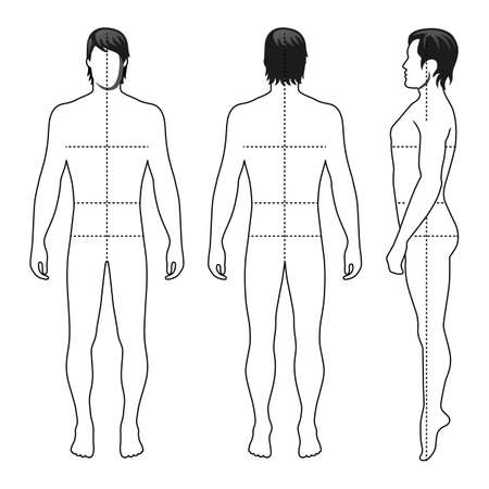 Fashion man full length outlined template figure silhouette with marked bodys sizes lines (front, side & back view),  vector illustration isolated on white background