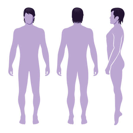 Fashion man full length template figure silhouette (front, side & back view),  vector illustration isolated on white background