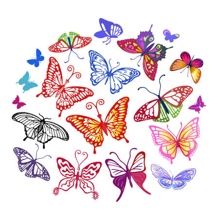 Colored butterfly logo set, vector illustration isolated on background Illustration