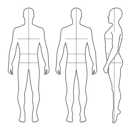 Fashion bald man full length outlined template figure silhouette with marked bodys sizes lines (front, side & back view),  vector illustration isolated on white background