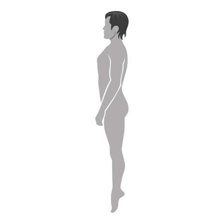 Fashion man full length template figure silhouette (side view),  vector illustration isolated on white background Illustration