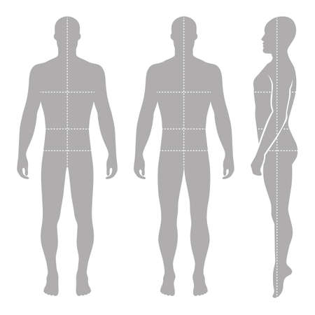 Fashion bald man full length template figure silhouette with marked bodys sizes lines (front, side & back view),  vector illustration isolated on white background