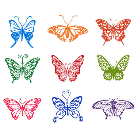 antennae: Colored butterfly set, vector illustration isolated on background