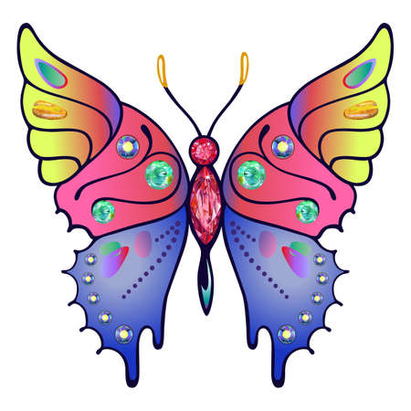 rhinestones: Butterfly colored gem rhinestones isolated on white background, vector illustration Illustration