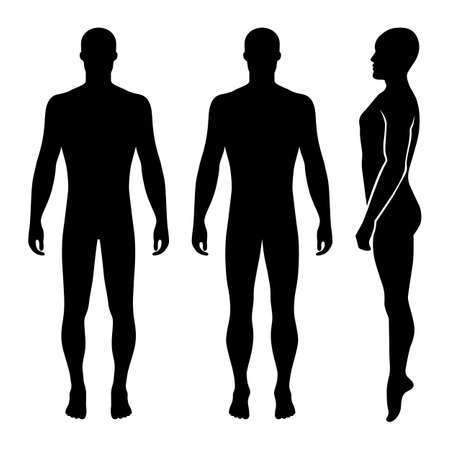 Fashion bald man full length template figure silhouette, vector illustration isolated on white background Illustration