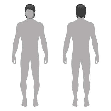 Fashion man full length template figure silhouette (front & back view),  vector illustration isolated on white background