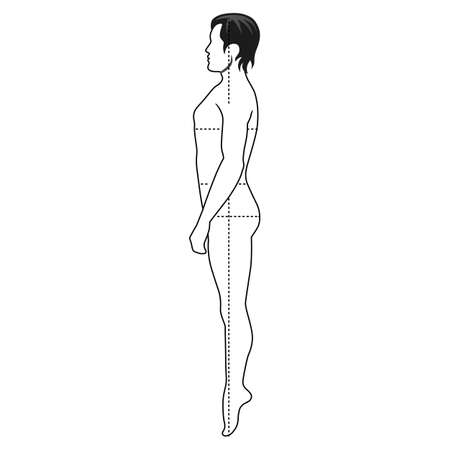proportions of man: Fashion man full length outlined template figure silhouette with marked bodys sizes lines (side view),  vector illustration isolated on white background