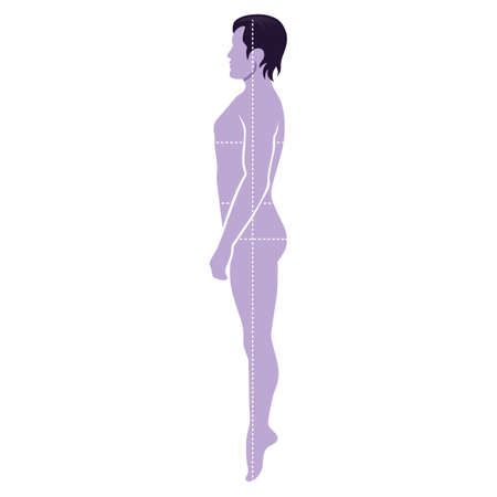 Fashion man full length template figure silhouette with marked bodys sizes lines (side view),  vector illustration isolated on white background