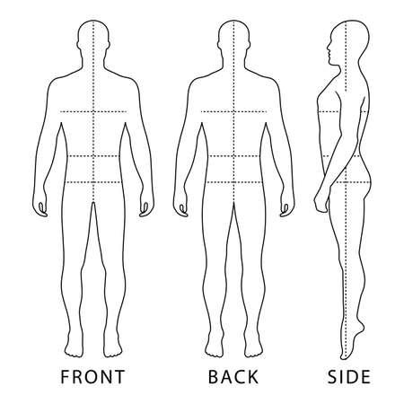 Mode homme chauve longueur décrit modèle chiffre silhouette avec des tailles de lignes de corps marqué (avant, latéraux et vue arrière), illustration vectorielle isolé sur fond blanc