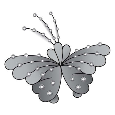 rhinestones: Butterfly grey colored gem rhinestones isolated on white background, vector illustration