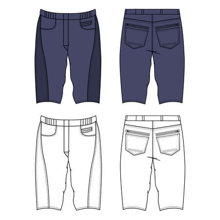 metal legs: Unisex outlined template skinny grey shorts front & back view view, vector illustration isolated on white background