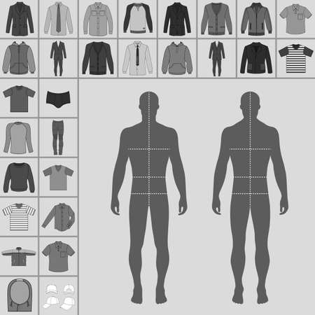 single man: Mens large clothing outlined template set (single breasted suit, shirt, pullover, hoodie, quilted jacket etc.)  & man croquis silhouette, vector illustration isolated on grey background