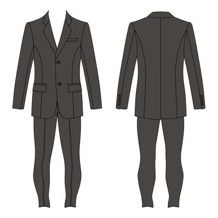 Man's suit (jacket & skinny jeans) outlined template front & back view, vector illustration isolated on white background