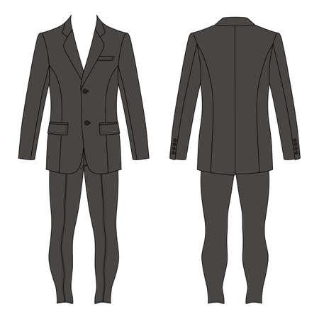 skinny: el juego del hombre (chaqueta y jeans ajustados) se indica la plantilla frontal y vista posterior, la ilustración vectorial aislados en fondo blanco