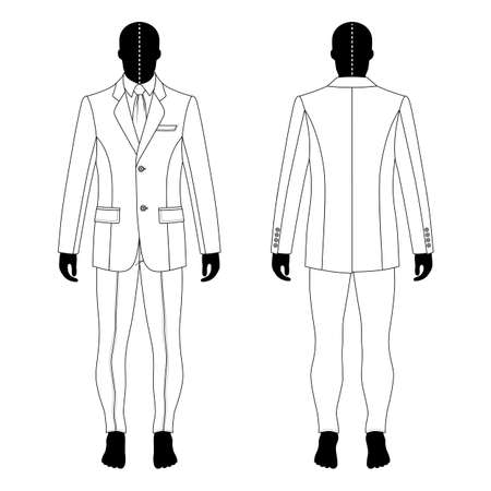 shirt and tie: Full length mans black silhouette figure in a single breasted suit (jacket & shirt & tie & skinny jeans) template (front & back view),  vector illustration isolated on white background