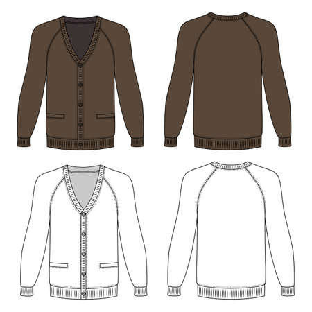 raglan: Blank long sleeve brown raglan cardigan outlined template (front & back view), vector illustration isolated on white background Illustration